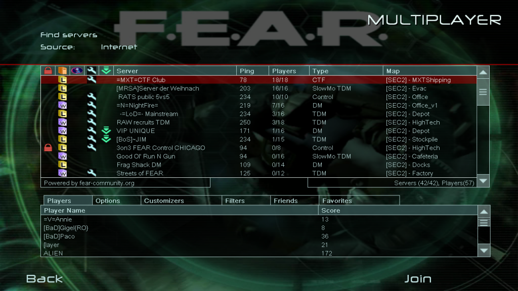 Top FEAR Combat Servers Full